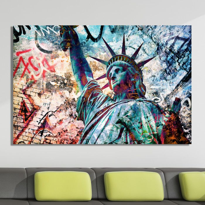 Salty graffiti liberty zero graphic art on canvas youll love contemporary