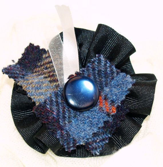 Black Ribbon Brooch with Blue Tartan Harris Tweed, Silver Ribbon and a Vintage Button