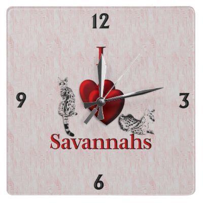 I Heart Savannah Cat Wall Clock by EyeHeart