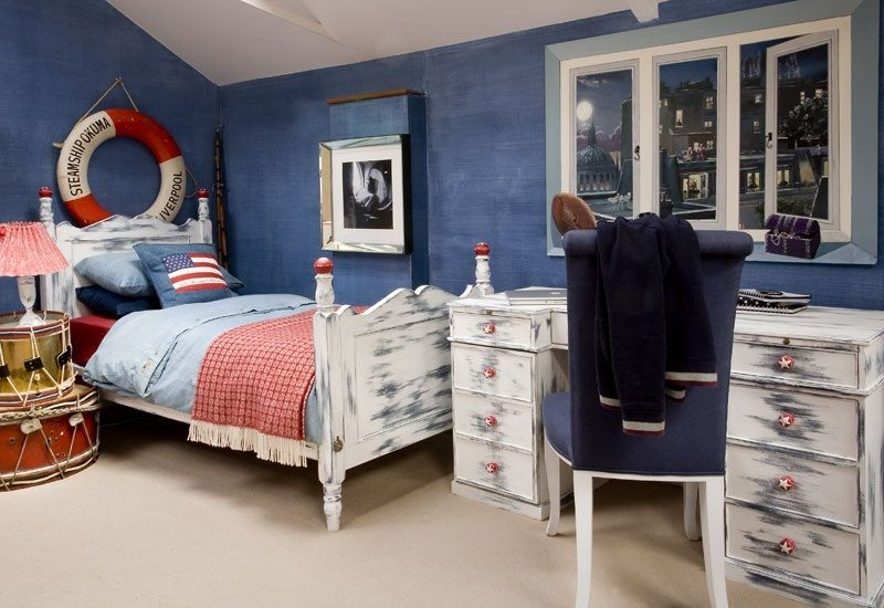 This luxuy Nautical roomset has been hand-painted by the artists at Dragons of Walton Street. This design can contain as many ships and sails as you choose, all orders are tailored to your preference. Visible within this roomset is a single William Bed, a Computer Desk with a Scroll Back chair and a Bespoke Mural on the wall.  www.dragonsofwaltonstreet.com