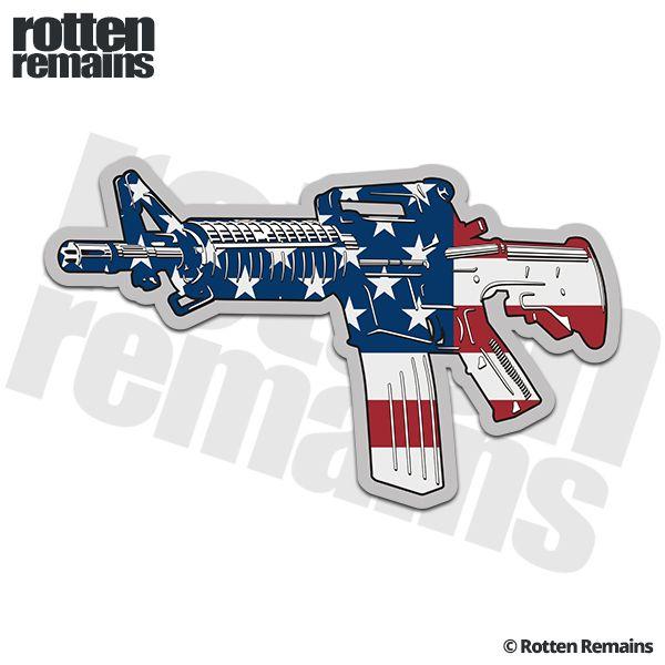 Ar 15 american flag machine gun firearm decal patriot sticker lh