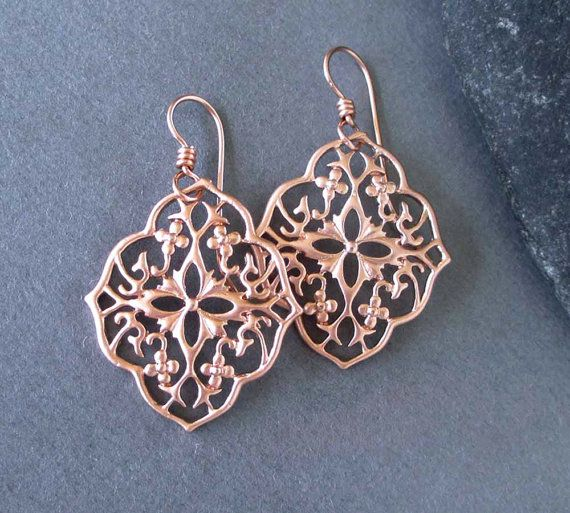 Pink Gold Filled Filigree Earrings Rose Gold Tone by SeventhWillow