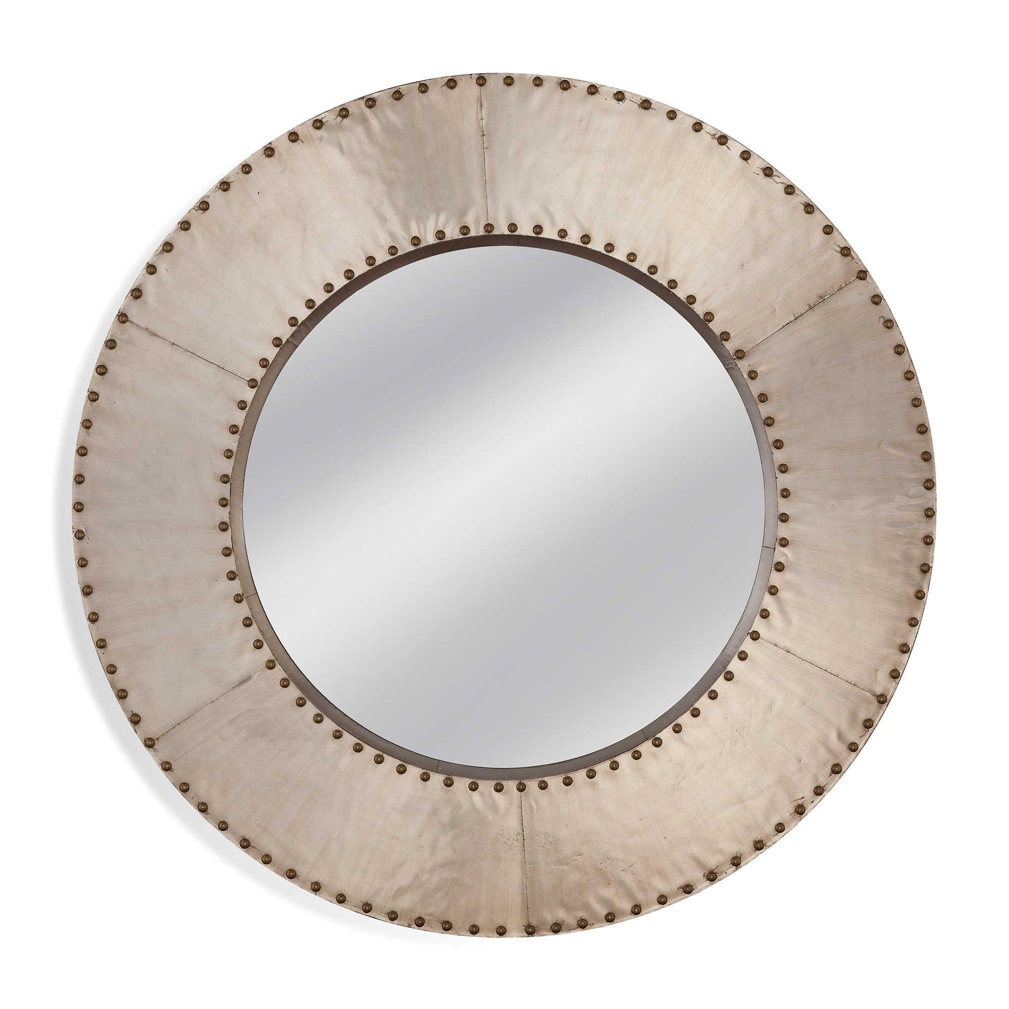 Basset Mirror Company Lexington 40 Inch Round Mirror In Aluminum