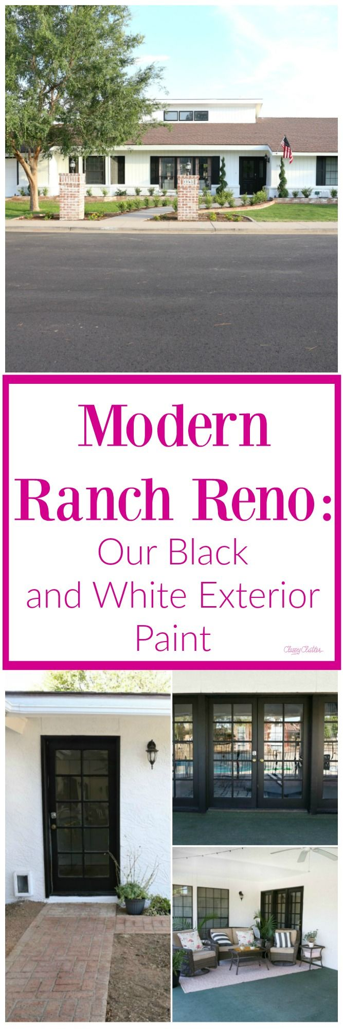 Modern Ranch Reno: Our Black and White Exterior Paint | Exterior ...