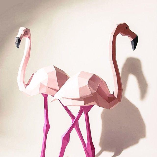 Work by #WolframKampffmeyer. #paper #sculpture #flamingo #pink #wild #geometry #art #Zupi