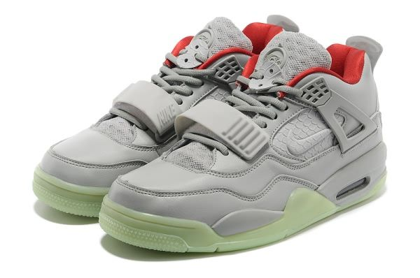 Grey Red Mens Nike Air Yeezy 2 + Jordan 4 Sneaker Shoes 37843