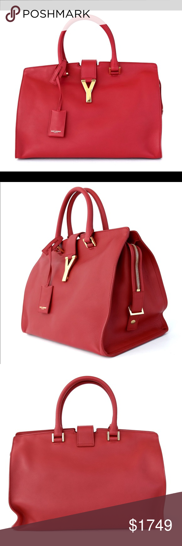 ee3da920295fb YSL Saint Laurent Cabas Y Ligne Satchel Bag New New with tags and dust bag.  Style number 311210. Measurements  7.5