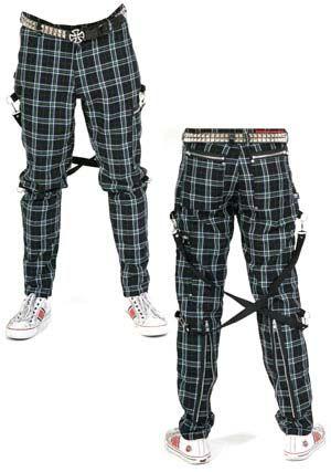 plaid bondage pants Green