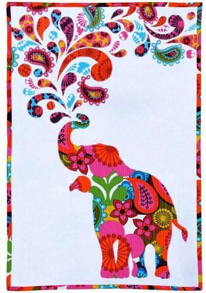 """Elephant animal paisley print polyester fabric on black 59/"""" wide sold BTY"""