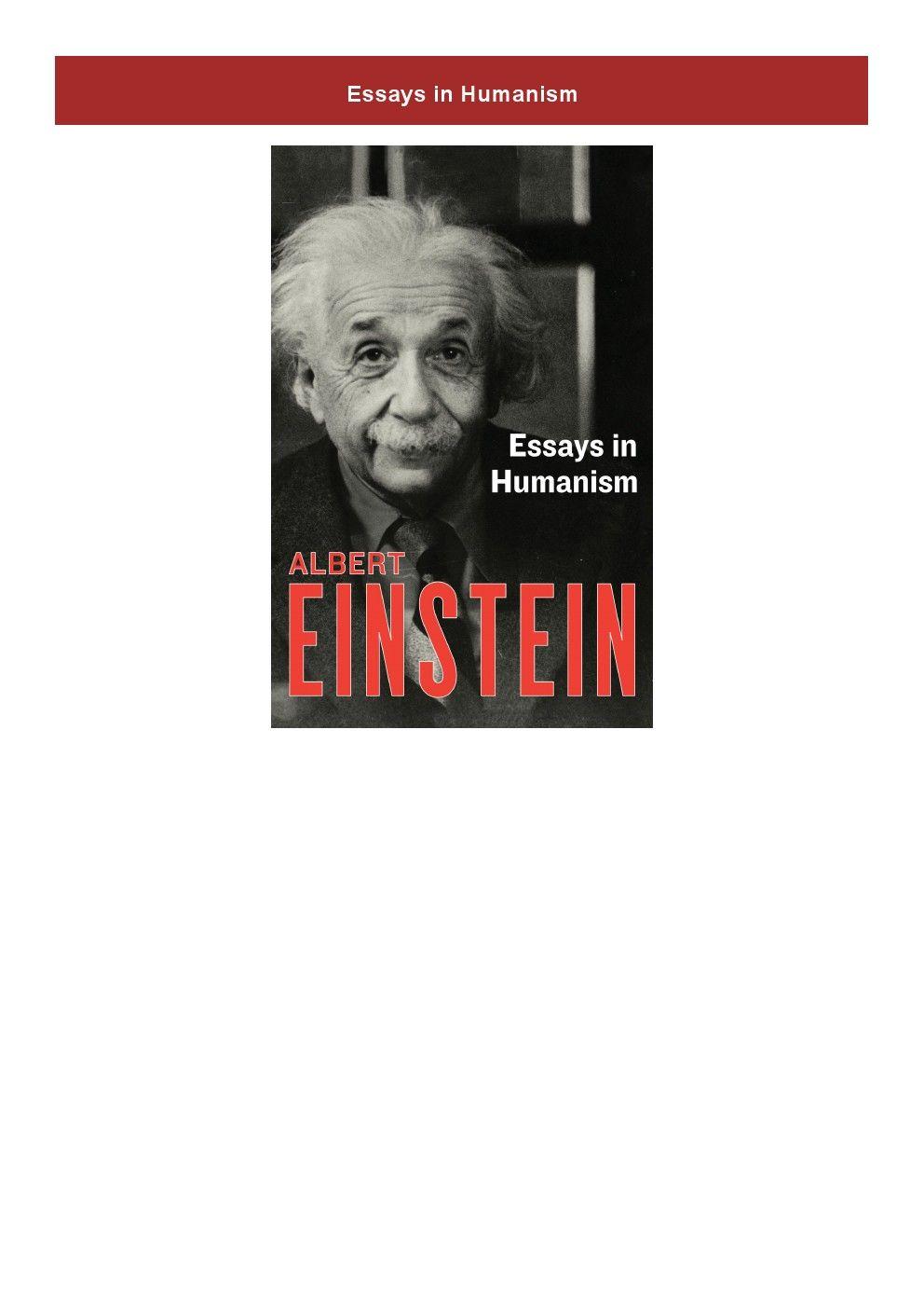 Get Pdf Essay In Humanism Albert Einstein On