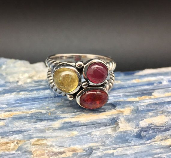 Tourmaline Ring // 925 Sterling Silver // Swirl Setting // Pink Yellow and Red Tourmaline Ring // Size 8