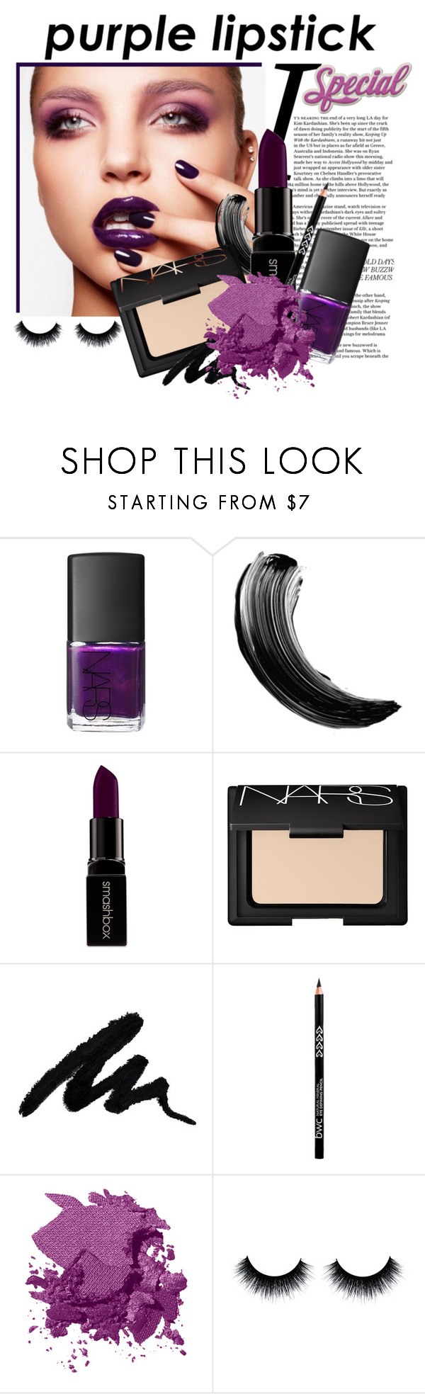 """""""purple lipstick"""" by divacrafts ❤ liked on Polyvore featuring beauty, NARS Cosmetics, Smashbox, Bobbi Brown Cosmetics and Original"""