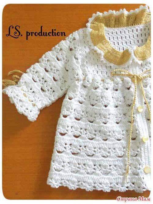 Patron para tejer una chambrita a crochet para bebe04 | Crochet Baby ...