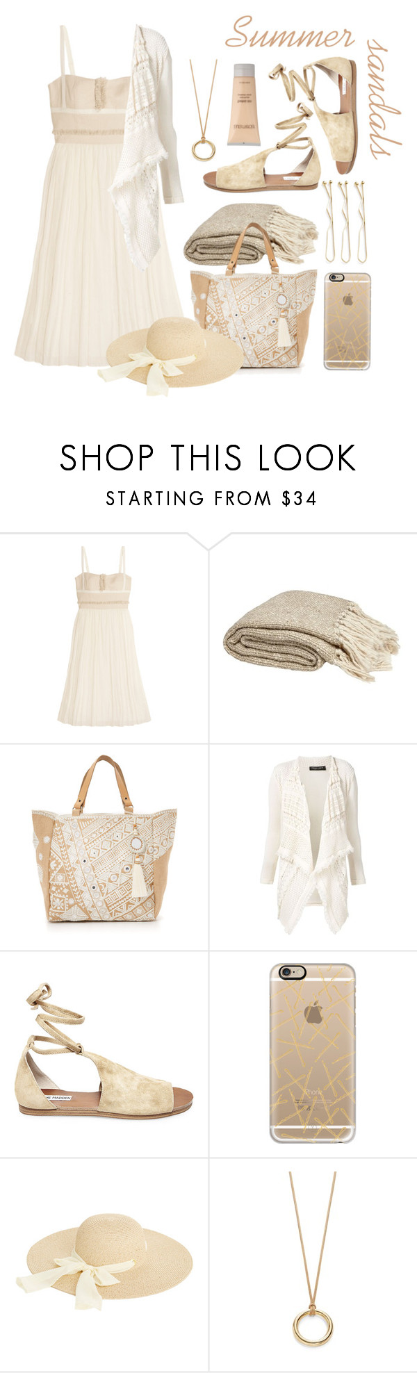 """Untitled #3296"" by kellie-debrandt-mescher ❤ liked on Polyvore featuring Vanessa Bruno, Star Mela, Twin-Set, Steve Madden, Casetify, Grace Lee Designs, Oasis, Design Lab and Laura Mercier"