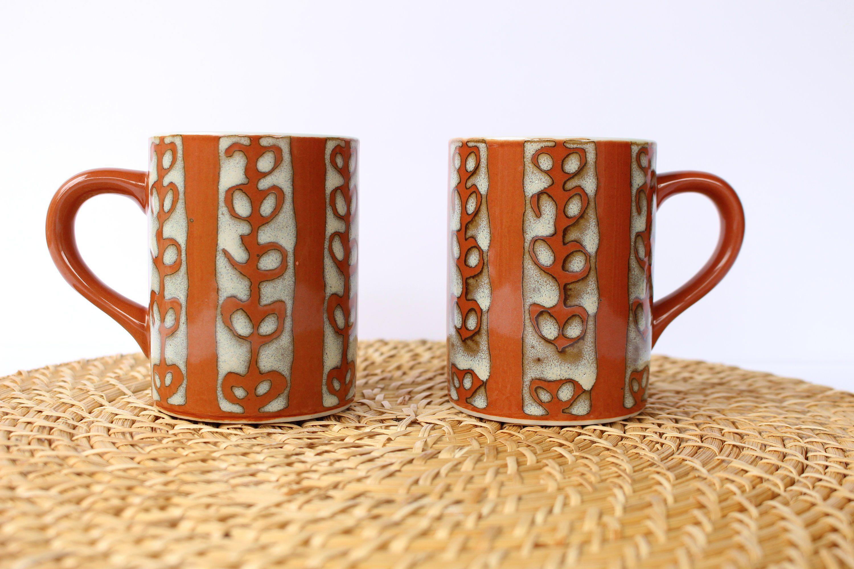 Vintage Stoneware Coffee Mugs Burnt Orange With Vine Pattern Retro Ceramic Stoneware Coffee Cups Orange And White Boho Coffee Mugs Mugs Coffee Cups Vintage Coffee