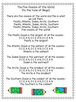 Captivating 7 Continents And 5 Oceans Songs {Freebie}