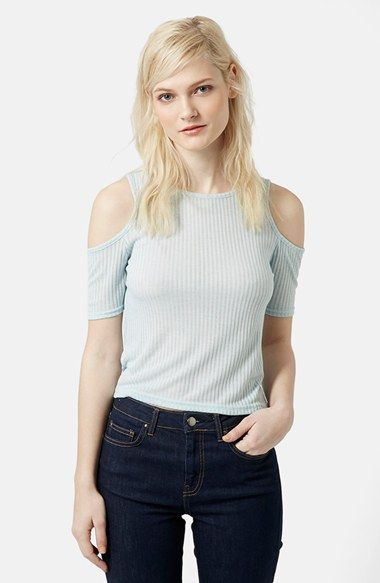 Topshop Cold Shoulder Ribbed Top available at #Nordstrom