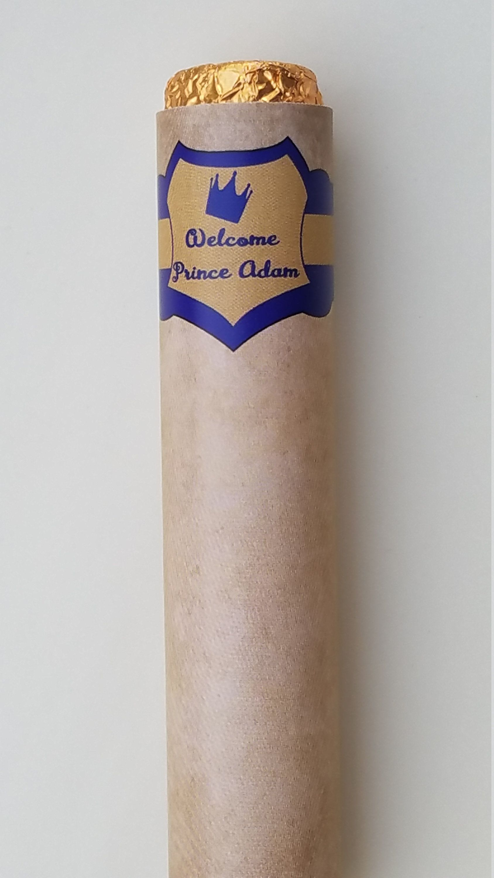 Chocolate Rolo cigars Royal prince crown Baby Shower favors