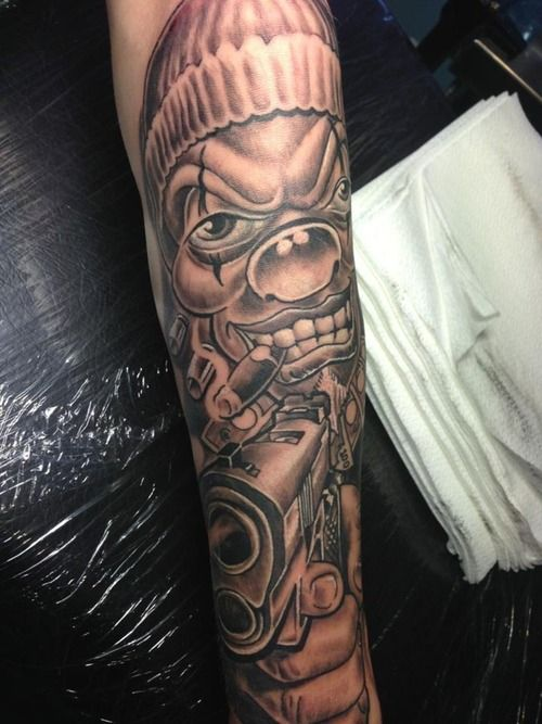 9d3d231a9a2ae Grey Smoking Gangster Clown Tattoo With Gun On Arm Sleeve | skulls ...