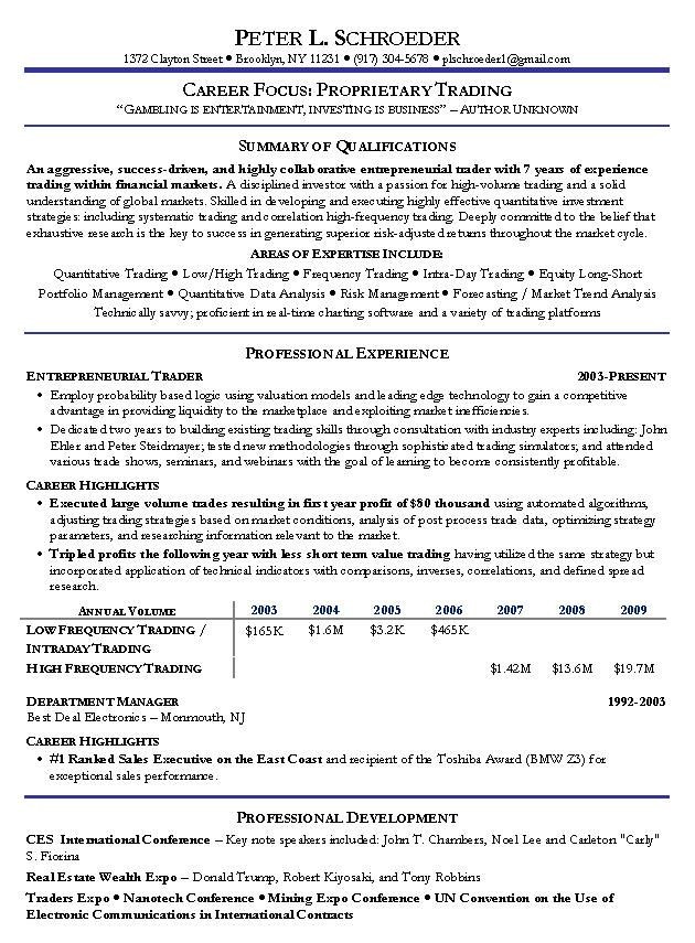 Proprietary Trading Resume Sample -   wwwresumecareerinfo