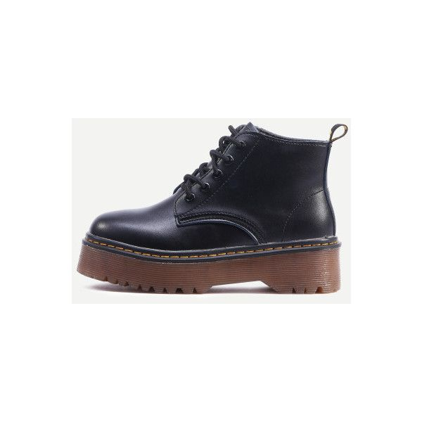SheIn(sheinside) Black Lace Up PU Flatform Boots (£33) ❤ liked on Polyvore featuring shoes, boots, black, short heel boots, black round toe boots, black flatforms, flatform shoes and black low heel boots
