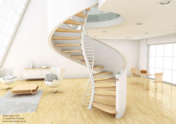 Delicada escalera caracol minimalista Escaleras minimalistas