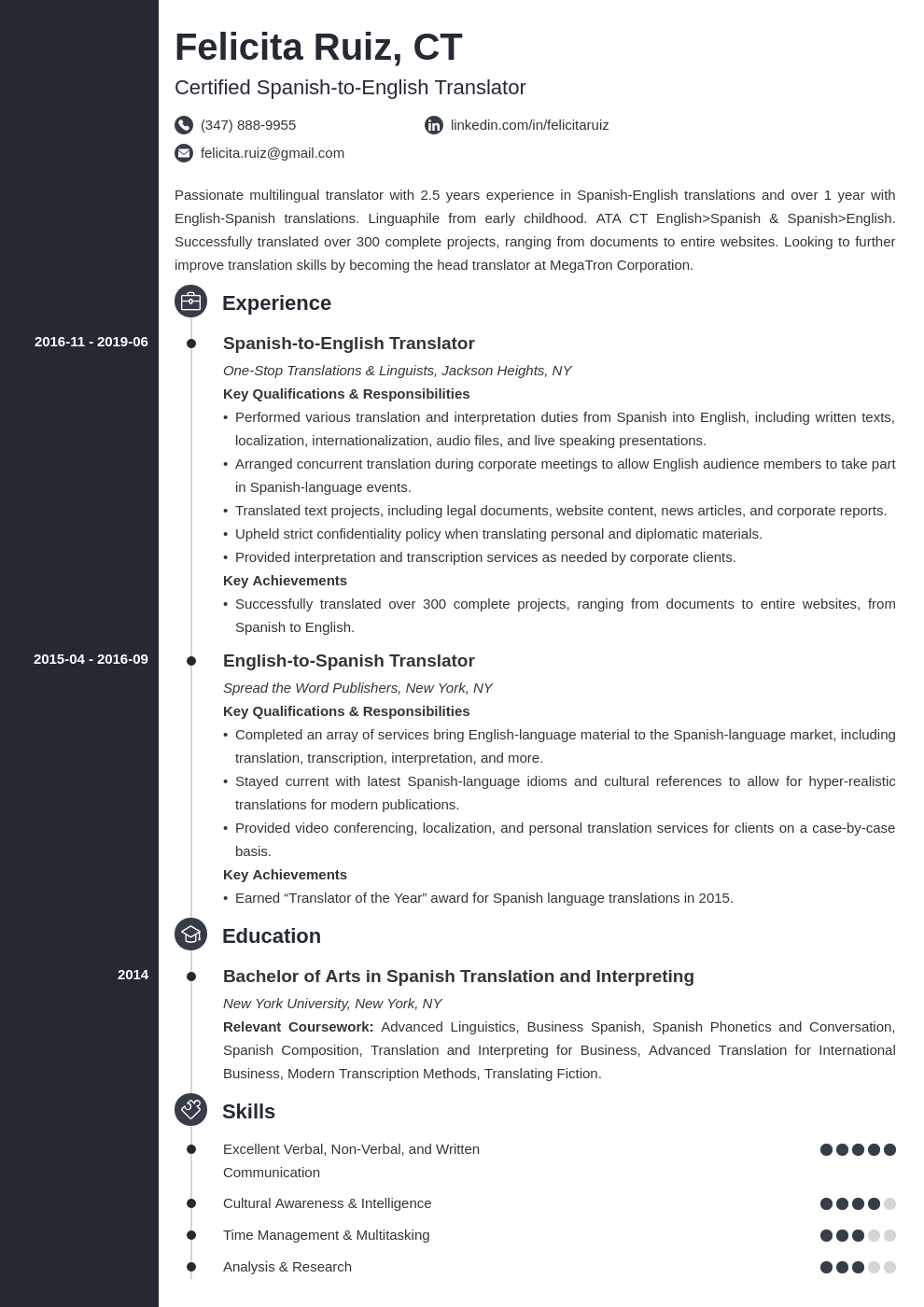 translator resume example template concept  teacher