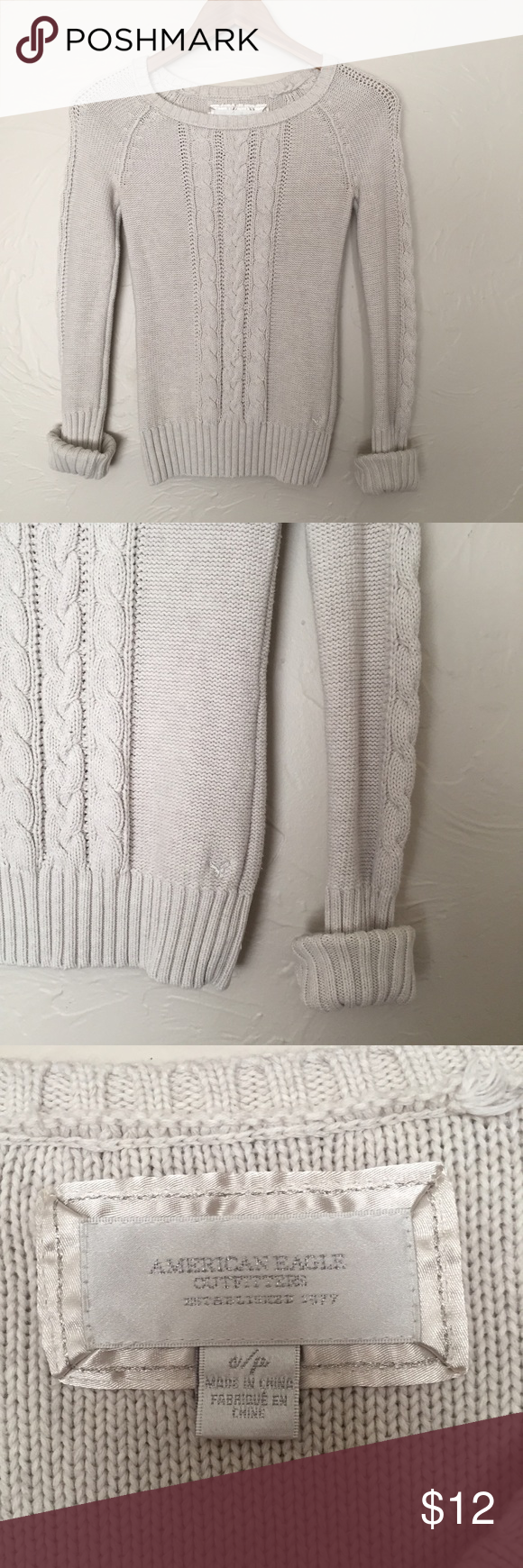 American Eagle cable knit sweater Perfect condition! Hardly worn! Fits more like an XS in my opinion. American Eagle Outfitters Sweaters