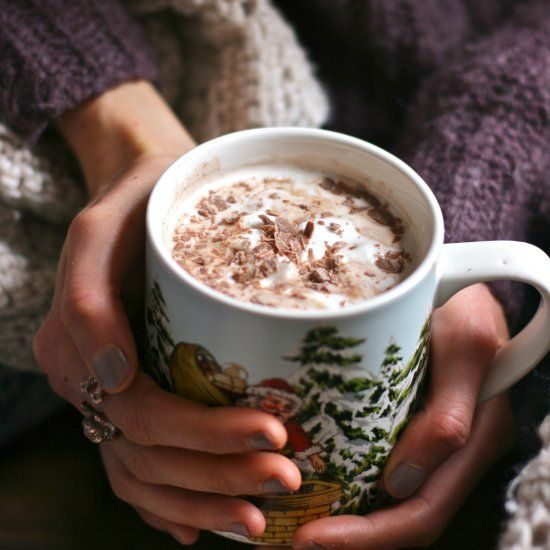 Creamy, decedent and perfectly boozy. This amaretto spiked hot chocolate is perfect in every way! (V+GF)