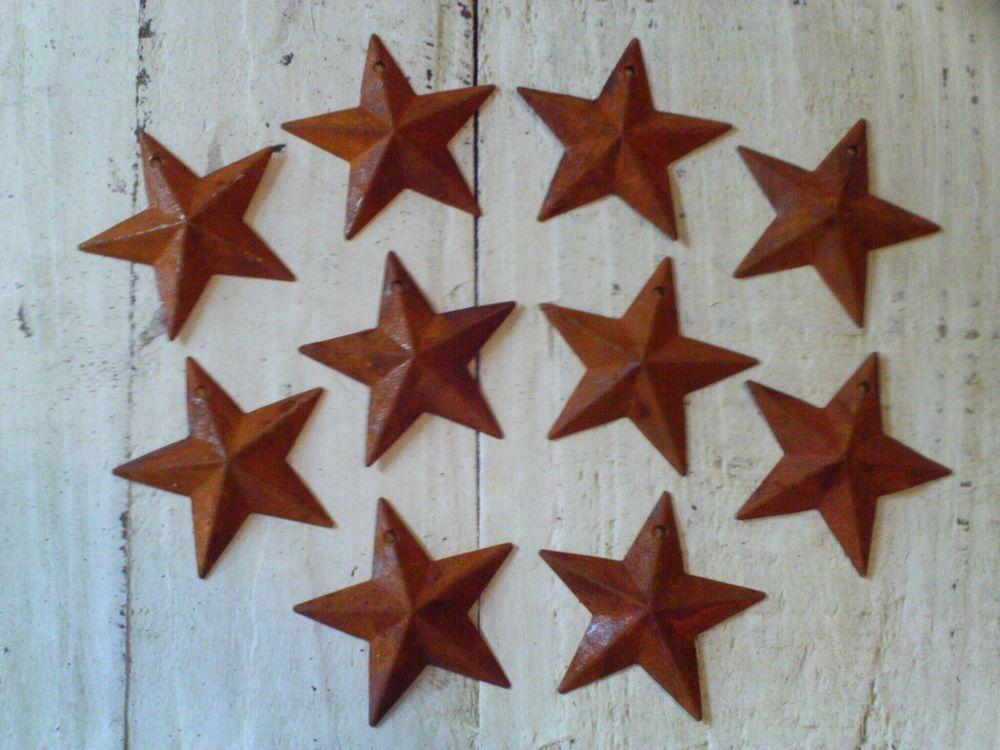 "Set of 3 8/"" RUSTY BLACK BARN STARS Metal Tin  Primitive Country Rust"