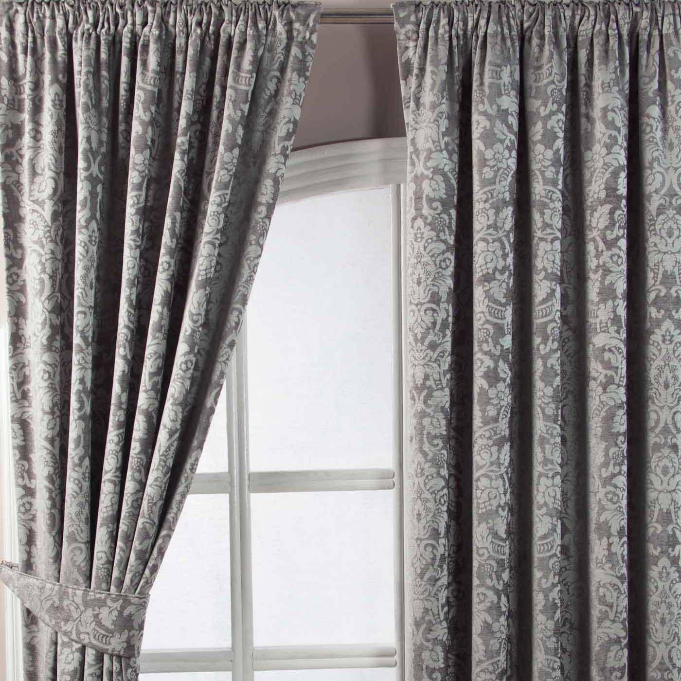 Grey Velvet Jacquard Pencil Pleat Lined Curtain Pair 46 X 54 In 2020 Lined Curtains Curtains Pair Grey Curtains Bedroom