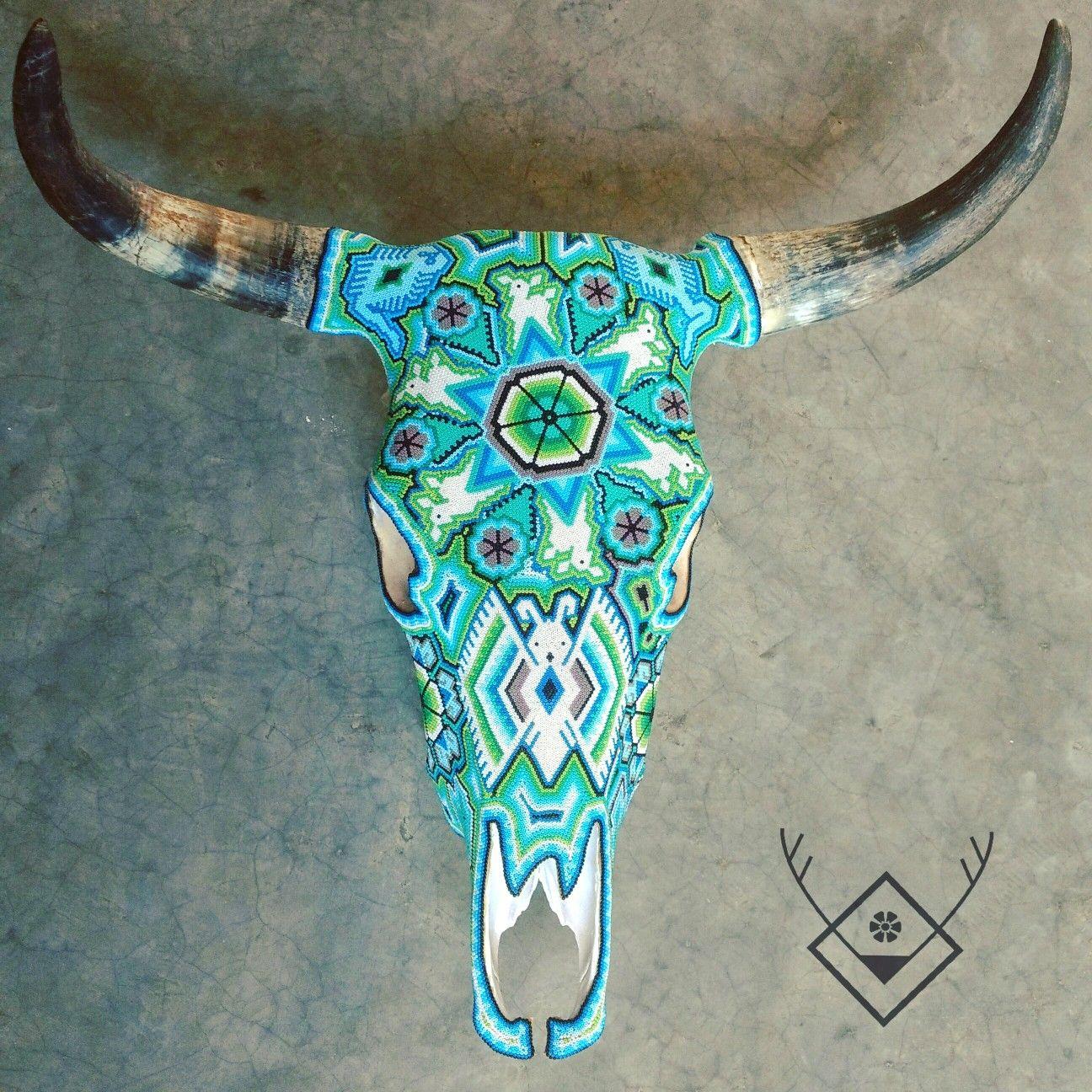 Francine Cabeza De Vaca Real Decorada Con Arte Huichol Por