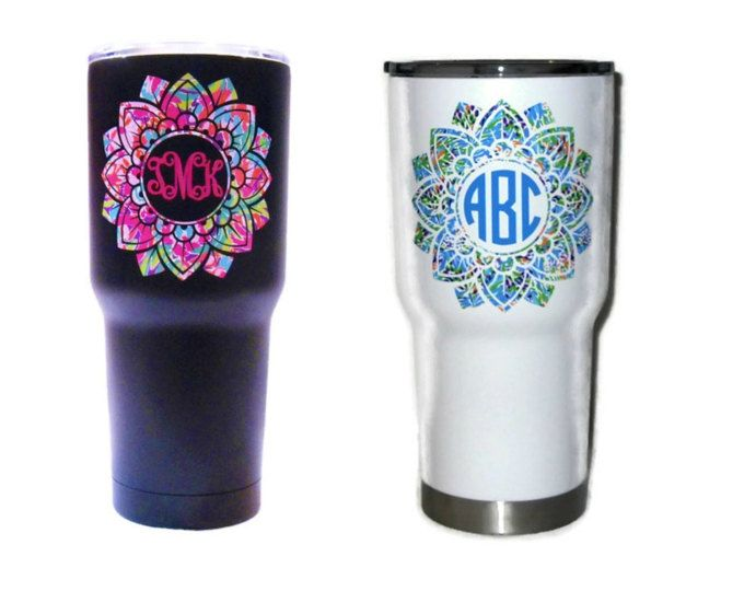 Mandala decal yeti 20 oz 30 oz monogram decal for yeti rtic ozark trail