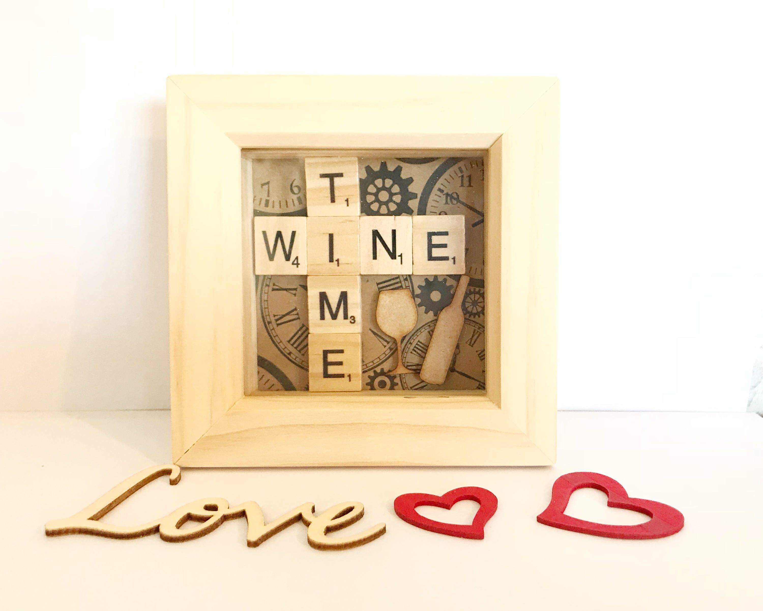 Wine Time Mini Scrabble Box Frame. Gift for wine lovers. Valentine\'s ...
