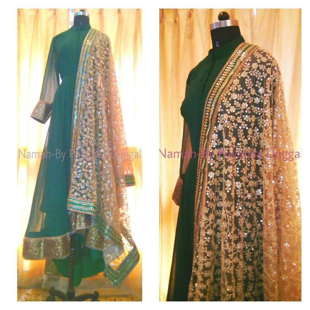 """#namah #priyankaduggal #indianfashion #indianclothes #indianwear #indianweddings #indianbrides #anarkali #indianembroidery #emeralgreen #diwaliorders…"""