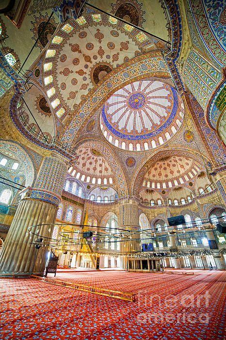 Blue Mosque Interior Art Print by Artur Bogacki