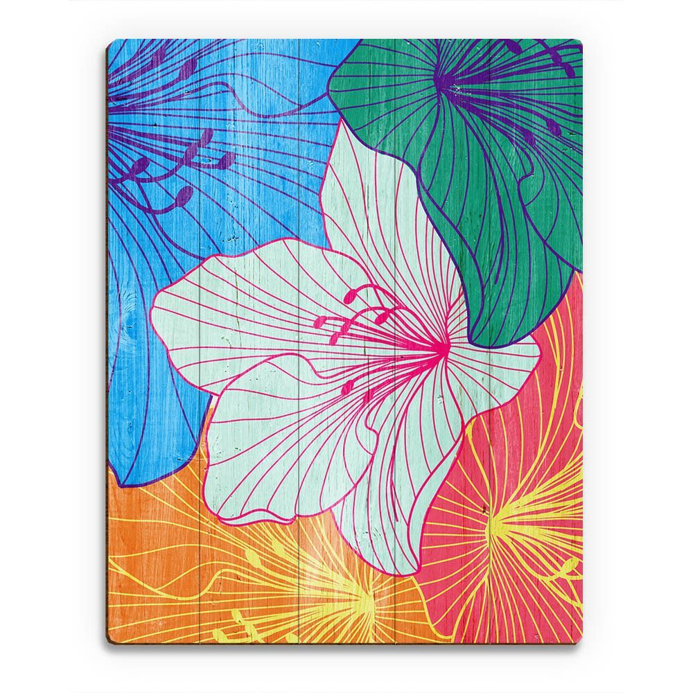 Enliven your room with the vivid colors of this hibiscus wall art