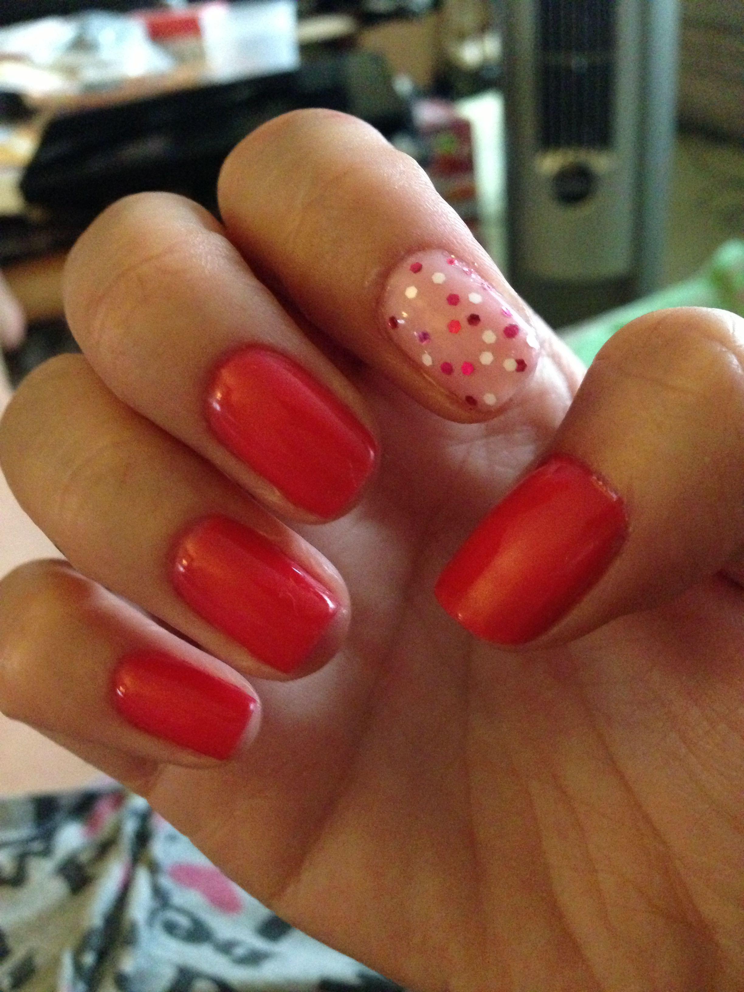 OPI Cajun Shrimp and Italian love affair gel with Minnie style ...