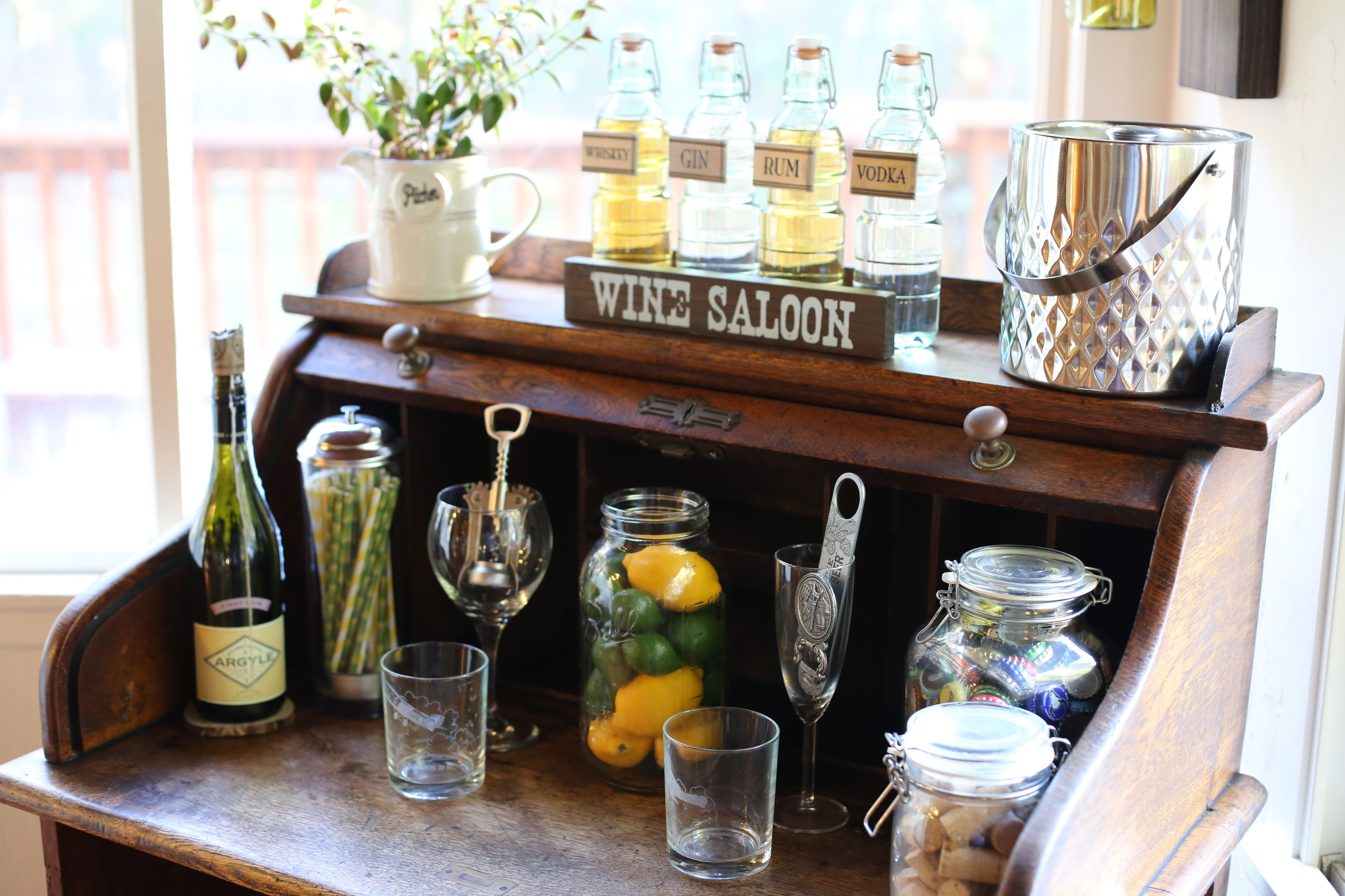 1f406b55ed2 Roll top desk turned DIY bar cart. Mini Bar Cart. Wine Cork Decor. Straw  Dispenser. Save your beer caps. Our first bottle of wine we ever drank  together