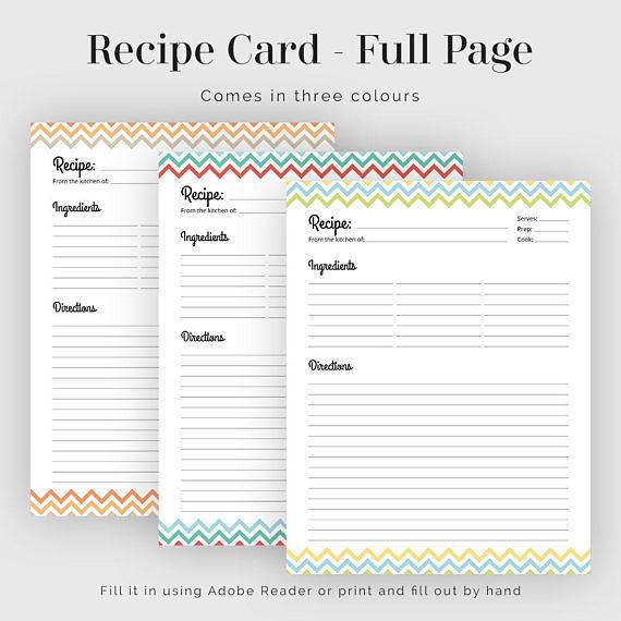 Recipe Card - Full Page - Colourful Chevron - Fillable PDF