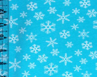 Children's Knit Print Snowflake Frozen Winter Ice Blue Medium Weight Cotton Lycra Knit Fabric 1 yard