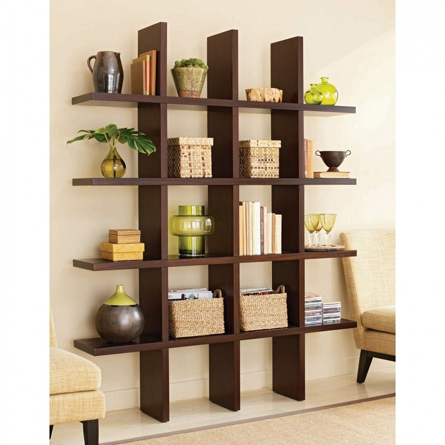 Cool Wooden Shelves Design : Fabulous Home Interior Design Idea With Dark  Brown Wooden Wall Shelf