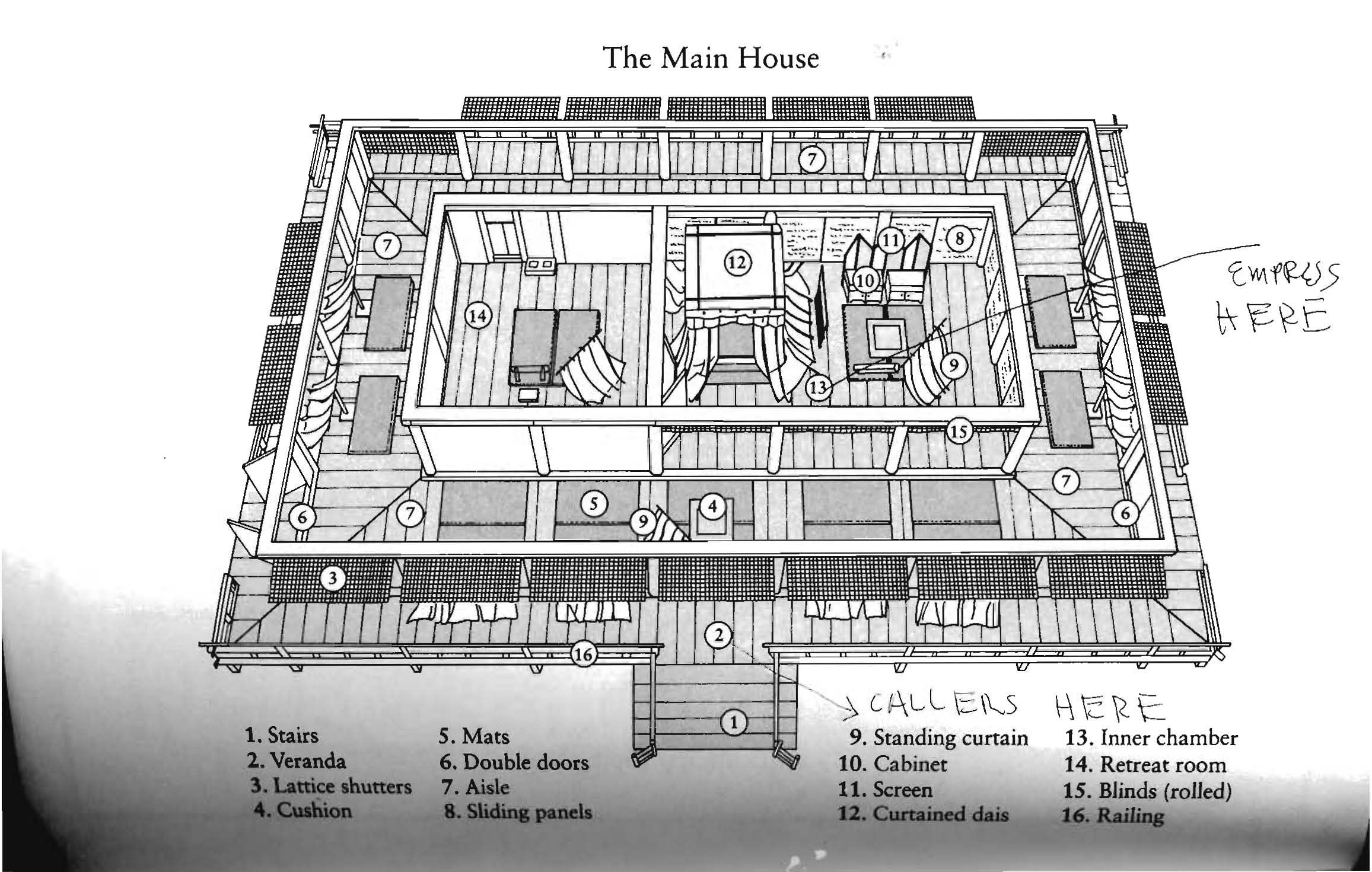 Floorplan of traditional Japanese structure--perfect for small summer house.