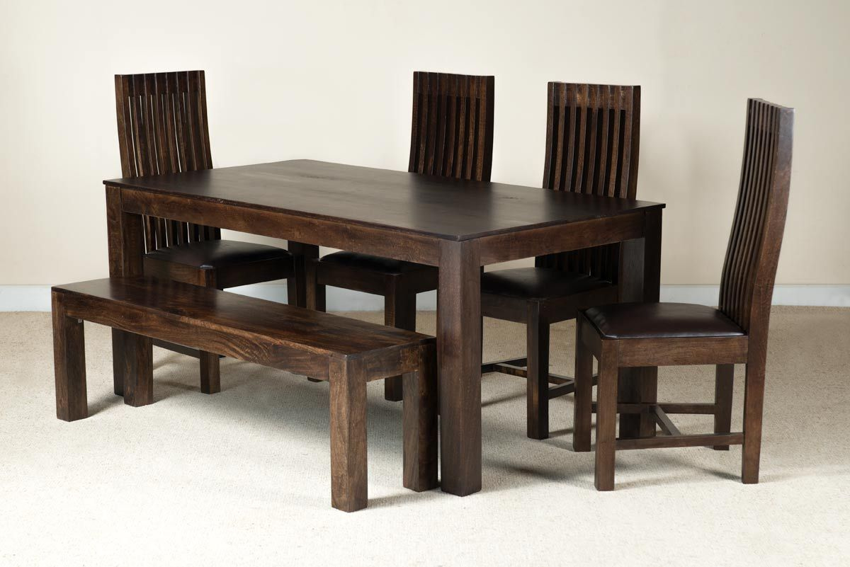 Mango Walnut U0026 Leather 6 Seater Dining Set With Bench 1