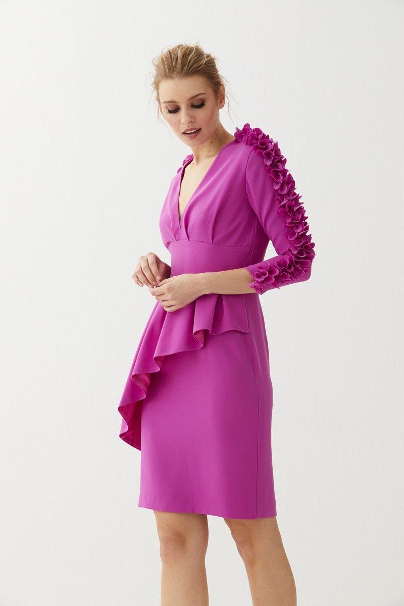 Vestido peplum mangas flores Filippa | Pinterest | Vestidos de ...