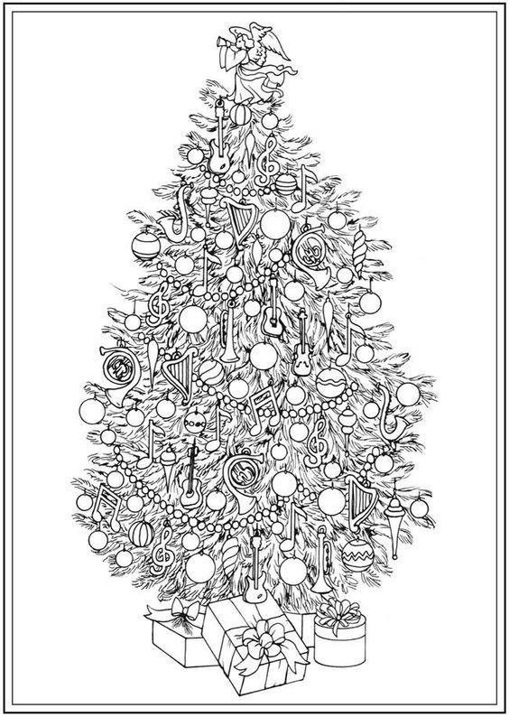 раскраска антистресс украшенная новогодняя елочка ...