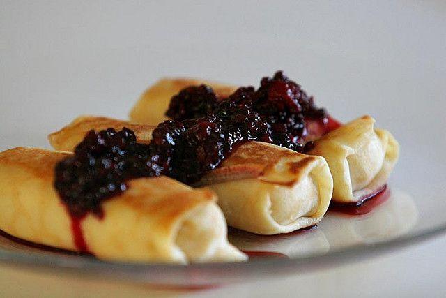 Cheese Blintzes with Blackberry Sauce