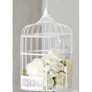Tirelire cage à oiseaux blanche 31 cm