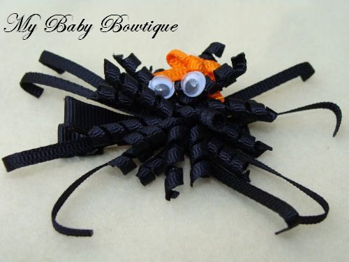 Toddler Girls Hair Bow Clippy  Black Spider Clip by MyBabyBowtique, $4.00