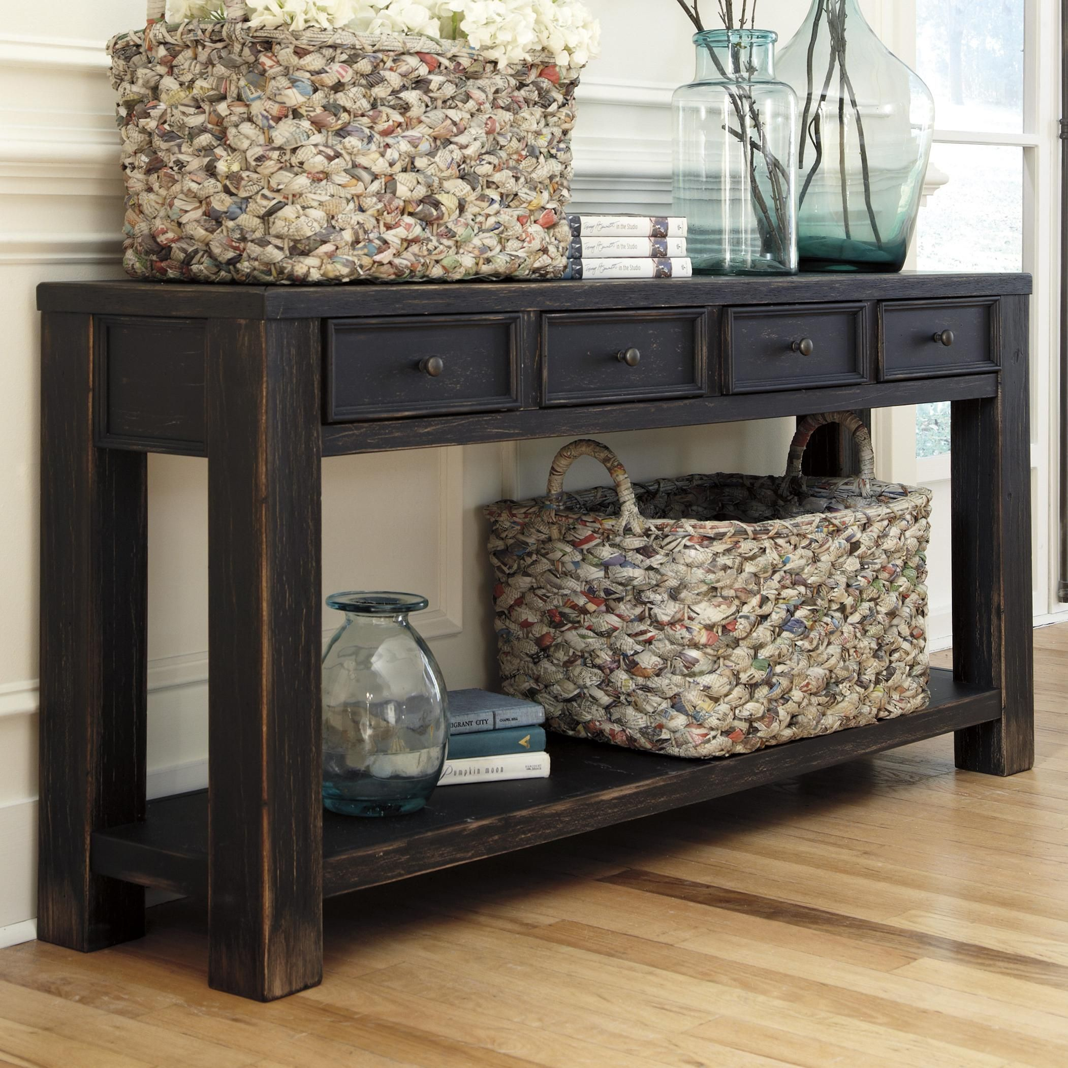 Gavelston Distressed Black Sofa Table With 4 Drawers Shelf By
